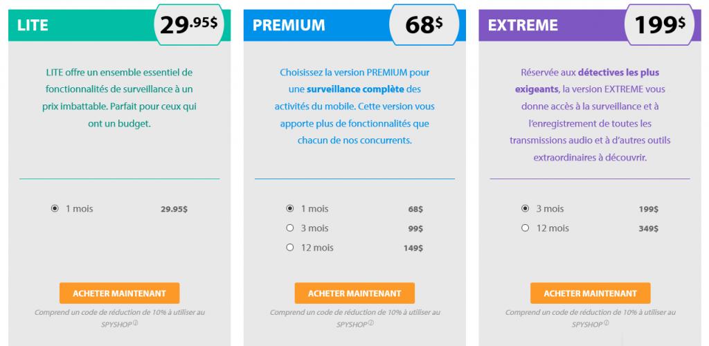 prix tarifs FlexiSPY
